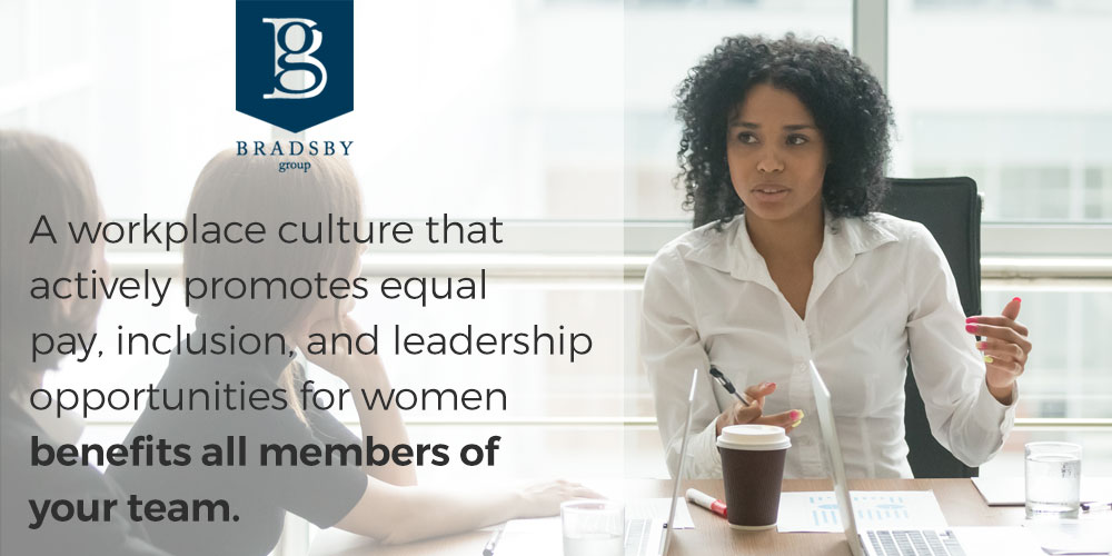 A workplace culture that actively promotes equal pay, inclusion, and leadership opportunities for women in the workplace benefits all members of your team.