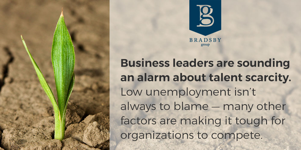 Business leaders are sounding an alarm about talent scarcity. Low unemployment isn't always to blame — many other factors are making it tough for organizations to compete.