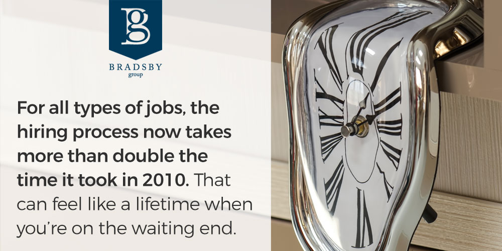 Why does the hiring process take so long? For all types of jobs, the hiring process now takes more than double the time it took in 2010. That can feel like a lifetime when you're on the waiting end.