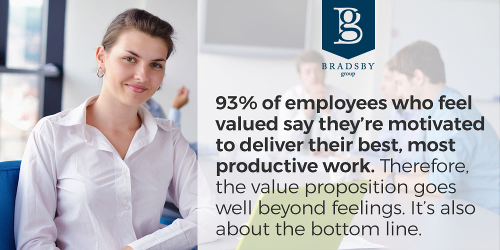 93% of employees who feel valued say they're motivated to deliver their best, most productive work. Therefore, the value proposition goes well beyond feelings. It's also about the bottom line. - how to make employees feel valued