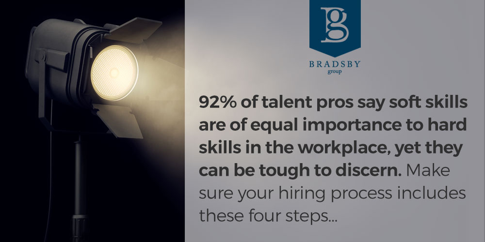 92% of talent pros say soft skills in the workplace are of equal importance to hard skills, yet they can be tough to discern. Make sure your hiring process includes these four steps...