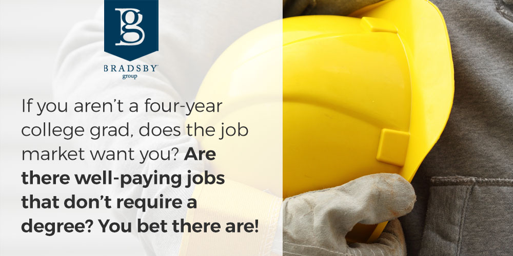 If you aren't a four-year college grad, does the job market want you? Are there well-paying jobs that don't require a degree? You bet there are!