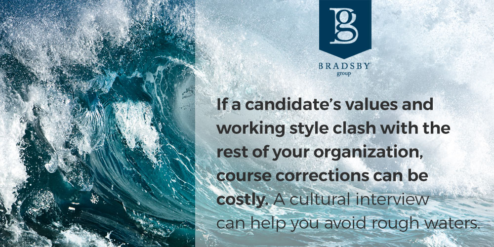 If a candidate's values and working style clash with the rest of your organization, course corrections can be costly. A cultural interview can help you avoid rough waters.