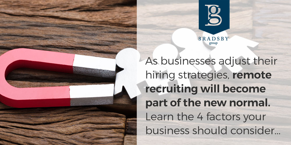 As businesses adjust their hiring strategies, remote recruiting will become part of the new normal. Learn the 4 factors your business should consider...