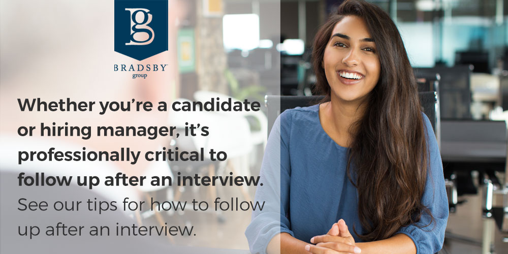 Whether you're a candidate or hiring manager, it's professionally critical to follow up after an interview. See our tips for how to follow up after an interview.