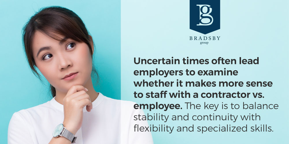 Uncertain times often lead employers to examine whether it makes more sense to staff with a contractor vs. employee. The key is to balance stability and continuity with flexibility and specialized skills.