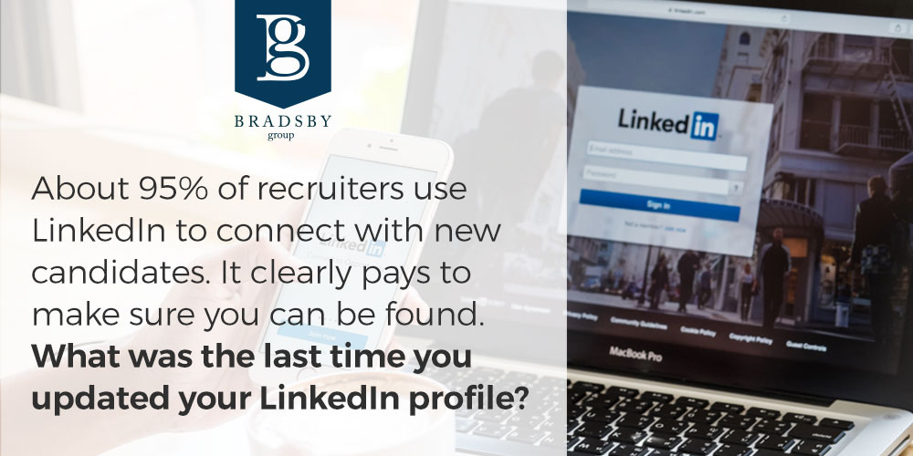 About 95% of recruiters use LinkedIn to connect with new candidates. It clearly pays to make sure you can be found. What was the last time you updated your LinkedIn profile?